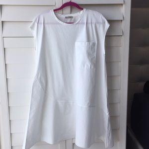Zara Asymmetrical White Poplin Dress Small